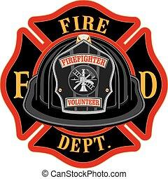 pompiers, croix, volontaire, noir, casque