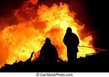 pompiers, dans, silhouette