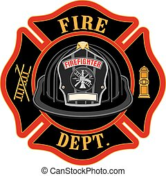 pompiers, noir, croix, casque