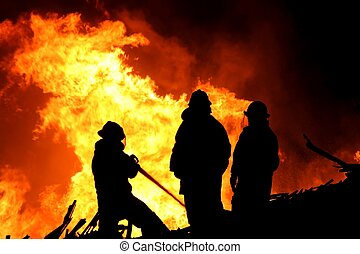pompiers, trois, flammes