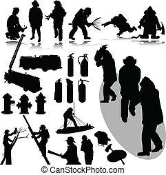pompiers, vecteur, silhouettes