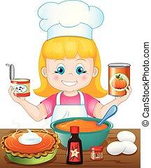 pompoen pastei, meisje, bakken