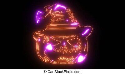 pompoen, silhouette, pictogram, laser, animatie