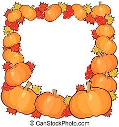 pompoennen, frame, achtergrond, volle, herfst, grens