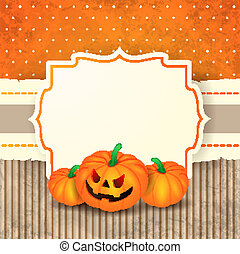 pompoennen, halloween, achtergrond, etiket