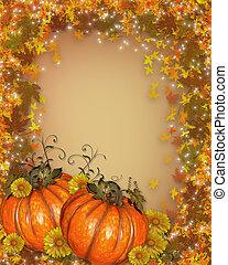 pompoennen, met, autumn leaves