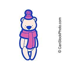 pompon, teddy, kappe, bär, vektor, scarf.