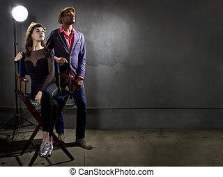 Pompous Actors - stylish actors posing on a concrete ...