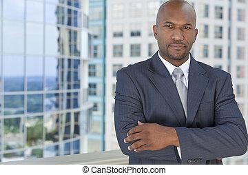 pomyślny, afrykanin amerykański człowiek, albo, biznesmen