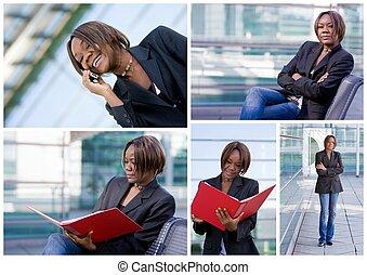 pomyślny, amerykańska kobieta, handlowy, afrykanin