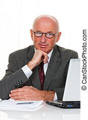 pomyślny, antreprenerzy, biuro, starszy