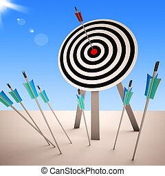 pomyślny, dartboard, pokaz, strzał, strzała