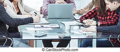 pomyślny, drużyna, handlowe biuro, miejsce pracy