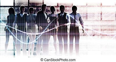 pomyślny, grupa, handlowy zaludniają