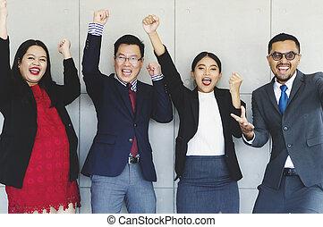 pomyślny, grupa, happy., handlowy zaludniają