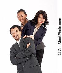 pomyślny, młody, businessteam
