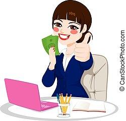 pomyślny, pieniądze, kobieta interesu