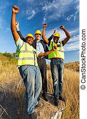 pomyślny, pracownicy, zbudowanie