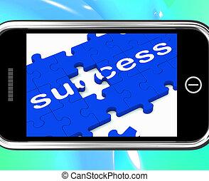 pomyślny, smartphone, rozłączenia, powodzenie, widać