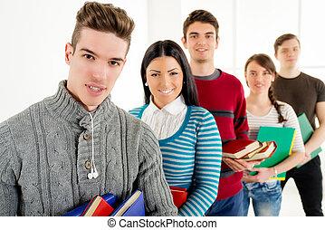 pomyślny, studenci, grupa