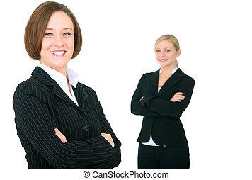 pomyślny, uśmiechanie się, businessteam