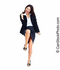 pomyślny, woman., handlowy, szczęśliwy