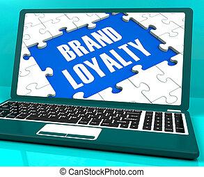 pomyślny, znakowanie, laptop, wryjcie lojalność, pokaz