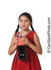 pomylony, butelka, jej, podniecony, cielna, na, dziecko, przeciw, twarz, samica, soda, wyrażenie, dzierżawa, szczęśliwy