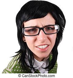 pomylony, dziewczyna, w, okulary