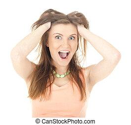 pomylony, kobieta, stress., jej, włosy, chodzenie, ciągnący, frustration., akcentowany