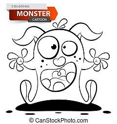 pomylony, kolorowanie, sprytny, potwór, zabawny, character., rysunek, illustration.