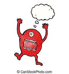 pomylony, rysunek, potwór