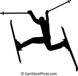 pomylony, sylwetka, narciarz