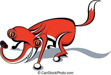 pomylony, wektor, całkowicie, wizerunek, fox.