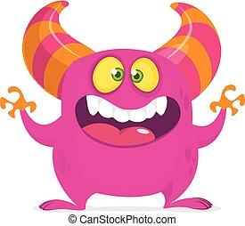pomylony, wektor, kanon, potwór, różowy, rysunek, cielna, mouth., halloween, projektować, illustration.