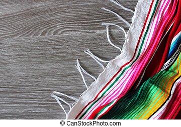 poncho, mexicano, espaço, madeira, mayo, de, fiesta, cinco, fundo, serape, cópia