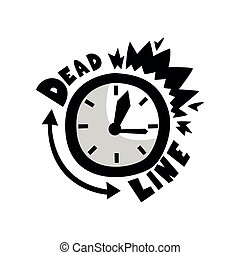 ponctualité, gestion, sonner, concept, réveille-matin, illustration, date limite, courant, vecteur, fond, temps, blanc dehors