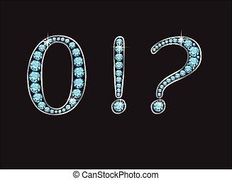ponctuation, canaux, zéro, aigue-marine, jeweled, police, ...