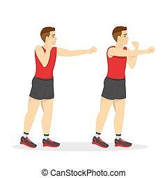 poncze, exercise., trening, gym., ręka, człowiek