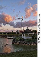 Pond and Gazebo at Sunset
