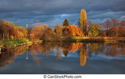 Pond and trees with colorful leaves on the bank in the afternoon in autumn.