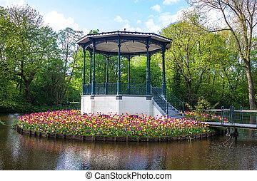 Pond and tulips in Vondelpark, Amsterdam