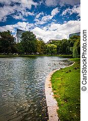 Pond at the Public Garden in Boston, Massachusetts.