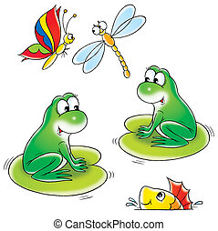 Pond - Frogs, fish, butterfly and dragonfly, on a white...