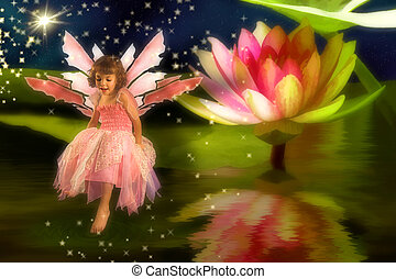 Pond Fairy - Little girl wearing a fairy dress sitting on a...