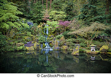 Pond in a Japanese garden