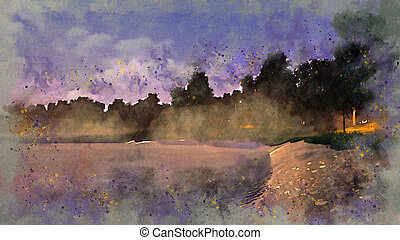 Pond in a park at misty dusk watercolor sketch - Grunge...