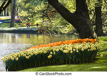 Pond in park with arrangement of springflowers