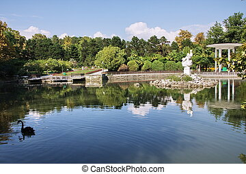 pond in the Arboretum park in the city of Sochi, Russia