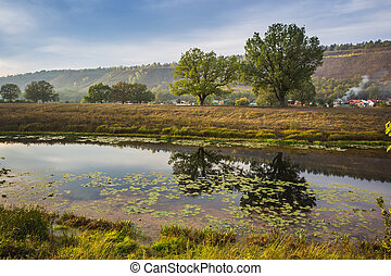 Pond in the countryside in autumn